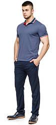 Футболка поло чоловіча якісна колір джинс модель 6584