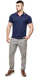 Чоловіча футболка поло колір темно-синій-червоний модель 6584