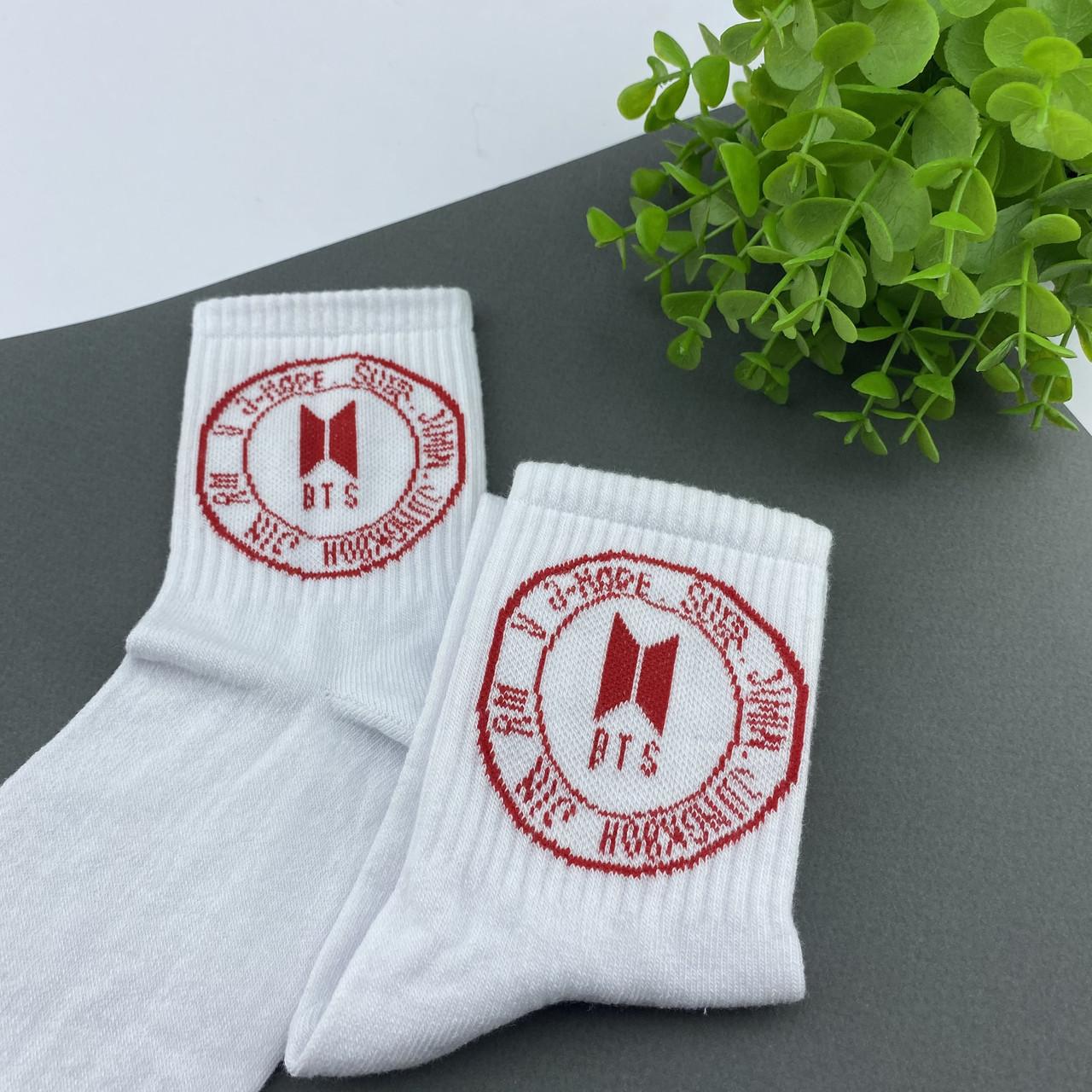 Носки белые с принтом BTS