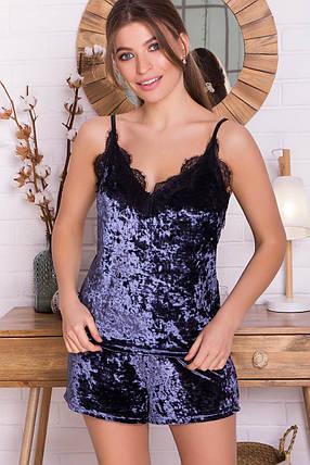 Женский домашний шелковый халат с кружевом Размеры S M L XL, фото 2