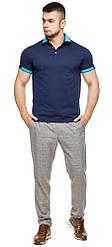 Футболка поло чоловіча колір темно-синій-блакитний модель 6618