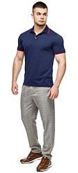 Зручна футболка поло чоловіча колір темно-синій-червоний модель 6093
