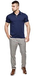 Брендовий футболка поло чоловіча колір темно-синій-сірий модель 6093