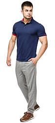 Чоловіча футболка поло комфортна колір темно-синій-червоний модель 6073