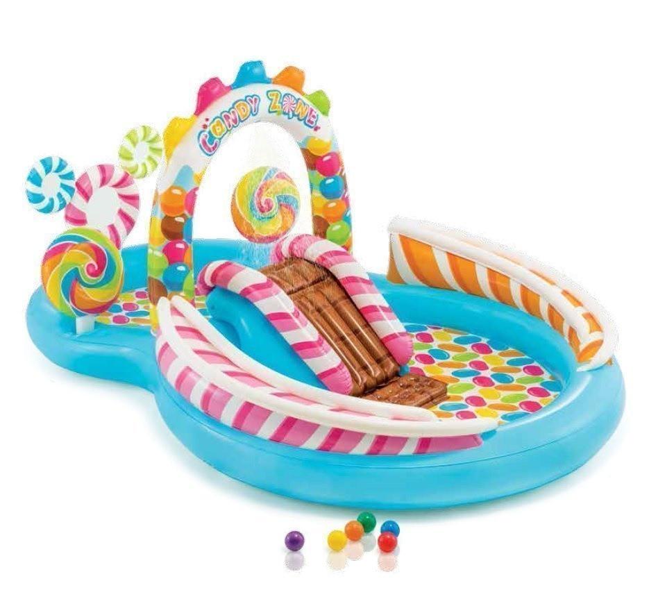 Детский надувной центр Intex 57149 «Сладости» с шариками, горкой и фонтаном (295*191*130 см)