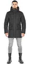 Мужская графитовая куртка зимняя с брендовой фурнитурой модель 47620