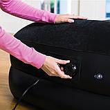 Односпальная надувная Велюр кровать с подголовником Bestway 67401 со встроенным насосом 97х191х46 см, фото 3