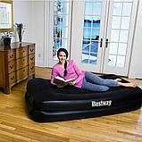 Односпальная надувная Велюр кровать с подголовником Bestway 67401 со встроенным насосом 97х191х46 см, фото 6