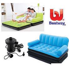 Надувной флокированный диван трансформер Bestway 67356, 188 х 152 х 64 см, с электронасосом