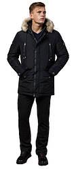 Черная зимняя мужская парка с долговечной фурнитурой модель 27830