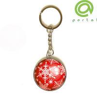 3D брелок новогодний Снежинка (красный) 3,5см