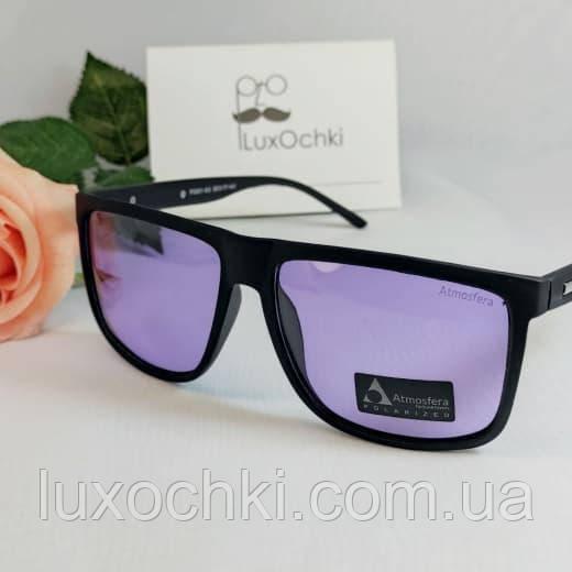 Мужские поляризованные квадратные очки фотохром(хамелеон) в матовой оправе