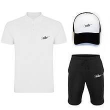 Комплект тройка кепка шорты и поло Найк, для мужчин