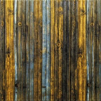 Мягкие 3D панели 700x700x8мм (самоклейка) Бамбук Желто-голубой