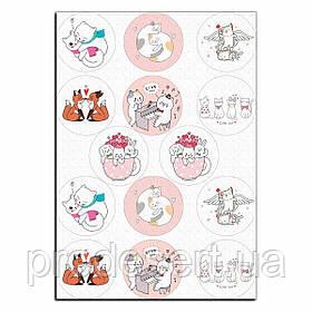 Капкейки-6 см Влюбленные зверушки 2 вафельная картинка