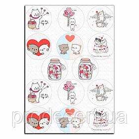 Капкейки-6 см Влюбленные котики 2 вафельная картинка