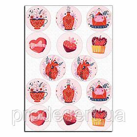 Капкейки-6 см День Святого Валентина 1 вафельная картинка