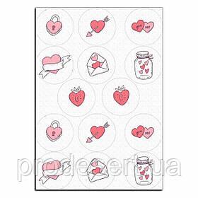 Капкейки-6 см Сердечки день Валентина вафельная картинка