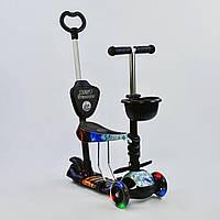 Самокат - беговел 5 в 1 Best Scooter 21500 с родительской ручкой и светящимися колесами