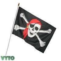 Пиратский Флаг 45х30см с пластиковой ручкой 2
