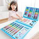 208 предметов СИНИЙ художественный набор с мольбертом для детского творчества в чемодане, фото 2
