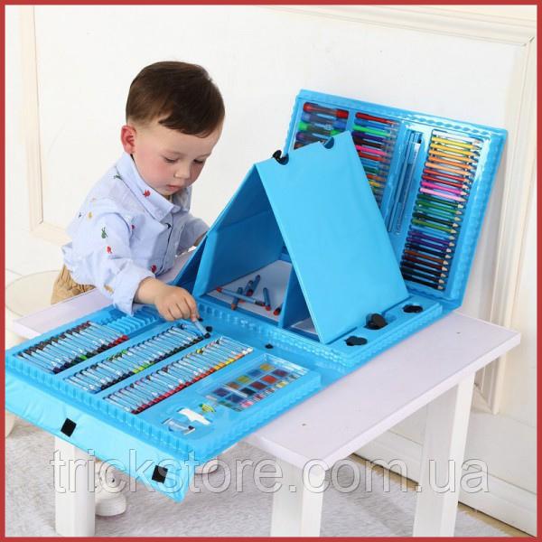 208 предметов СИНИЙ художественный набор с мольбертом для детского творчества в чемодане