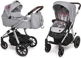Коляска Baby Design BUENO 107 GRAY (с вышивкой)