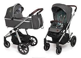 Коляска Baby Design BUENO 117 GRAPHITE (с вышивкой)