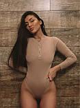 Боди женское в рубчик стильное бежевый, пудра, молоко 42-44,46-48, фото 9