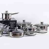 Набор кастрюль с сковородой UNIQUE 2,1л, 2,9л, 3,9, 6,2л, с крышками