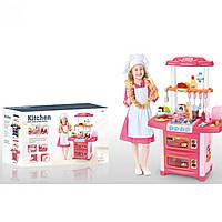 Кухня WD-P38 54-86-32см, плита, духовка, раковина-льется вода, посуда, продукты, кухонные принадлежности