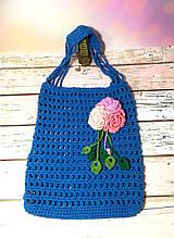 Авоська синяя с цветком, эко сумка шоппер, городская сумка для покупок, размер 35*40 см Букет