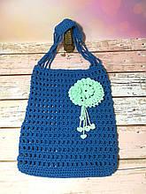 Авоська синяя с цветком, эко сумка шоппер, городская сумка для покупок, размер 35*40 см Мятный декор