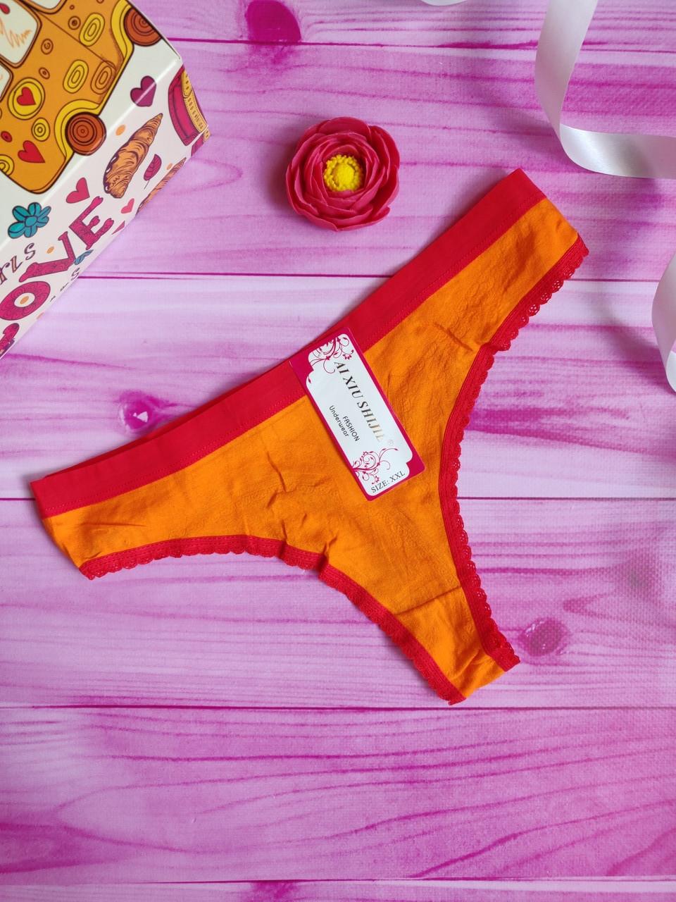 """Трусы женские стринги, бикини """"Однотонные"""" размер XXL 44, цвет оранжевый"""