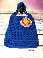 Авоська синяя с цветком, эко сумка шоппер, городская сумка для покупок, размер 35*40 см Цветок 1