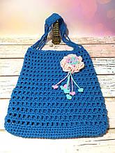 Авоська синяя с цветком, эко сумка шоппер, городская сумка для покупок, размер 35*40 см Цветок с сердечками
