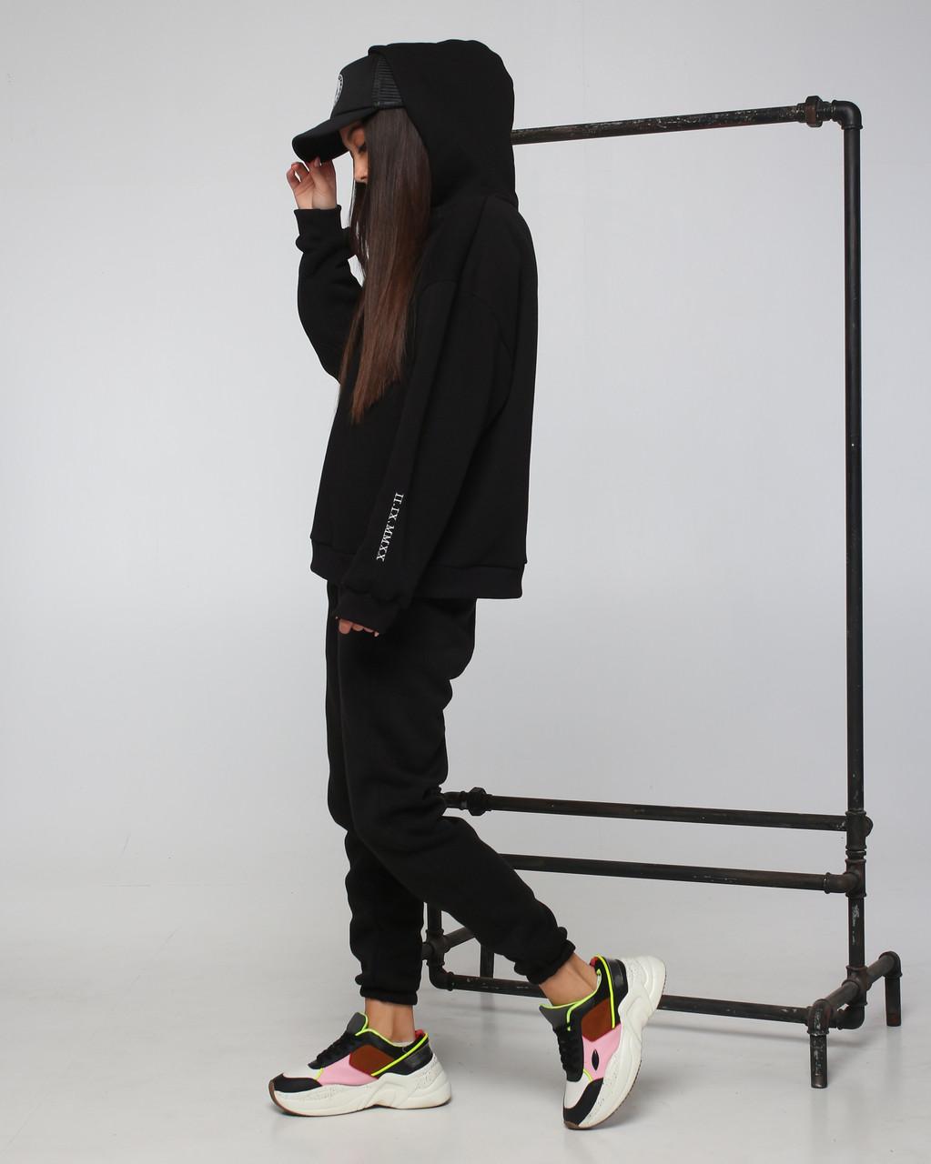 Спортивный костюм женский  чёрный на флисе сезон зима Философия от бренда Тур, размеры: S,M
