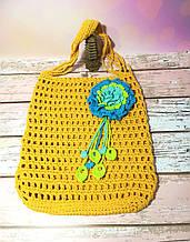 Сумка шоппер желтая с цветком, эко сумка плетенная, авоська, городская сумка для покупок, размер 35*40 см