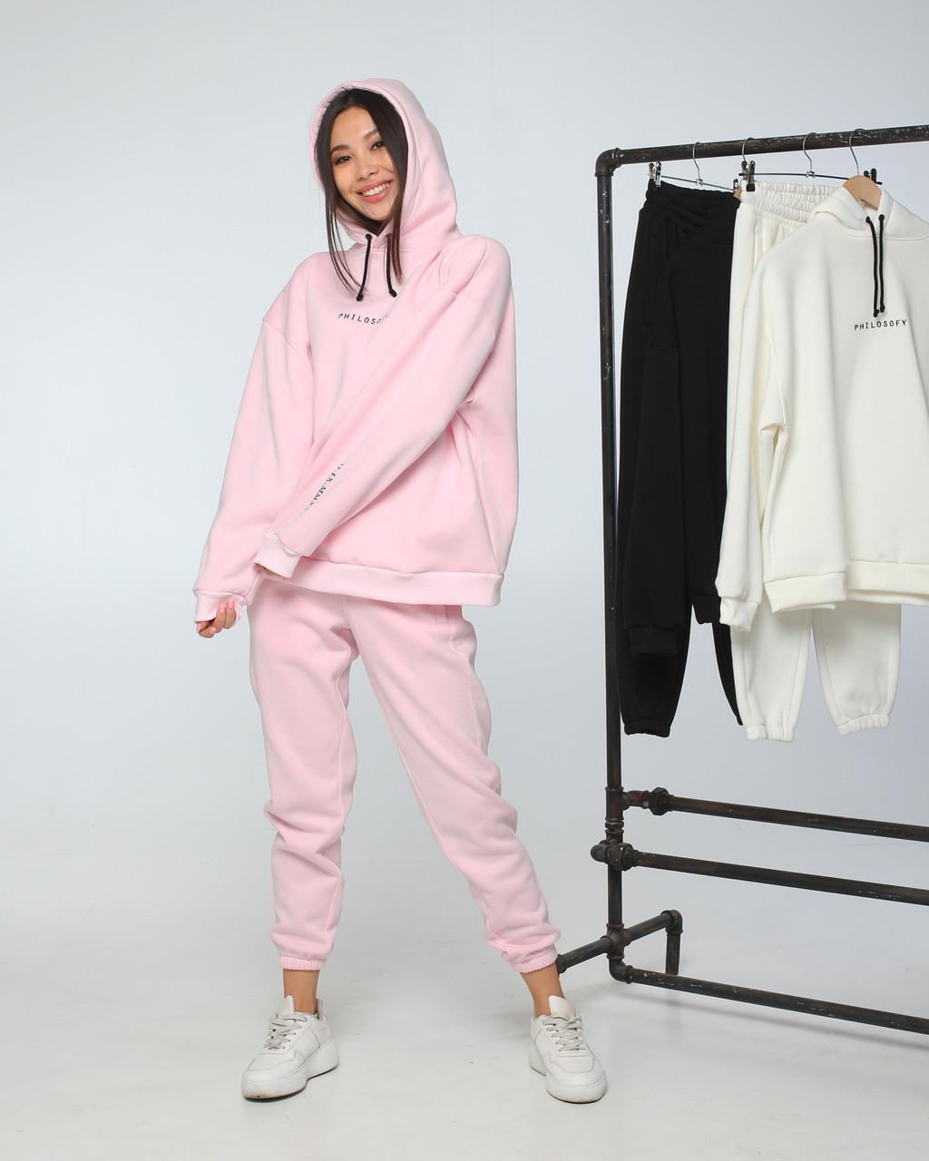 Спортивный костюм женский  розовый на флисе сезон зима Философия от бренда Тур, размеры: S,M