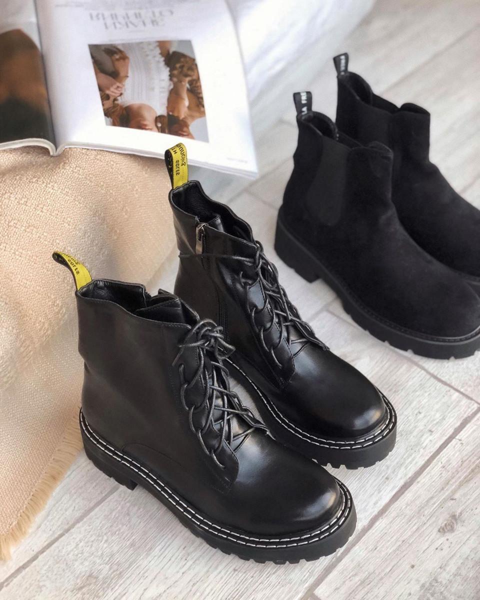 Ботинки на шнуровке с двойной белой строчкой черные