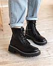 Ботинки на шнуровке с двойной белой строчкой черные, фото 2