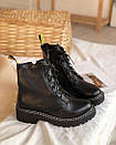Ботинки на шнуровке с двойной белой строчкой черные, фото 3