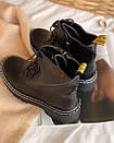 Ботинки на шнуровке с двойной белой строчкой черные, фото 4