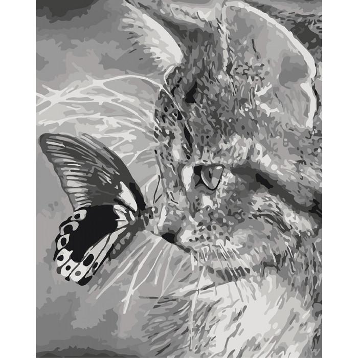 Картина по номерам КНО2499 Котенок и бабочка 40х50см. Идейка