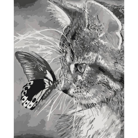Картина по номерам КНО2499 Котенок и бабочка 40х50см. Идейка, фото 2