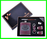 Подарочный Набор 6 в 1 Jack Daniel's (фляга,рюмки,ручка,брелок и лейка), фото 1