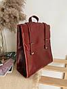 Рюкзак-трансформер из натуральной кожи на магните бордовый, фото 2