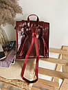 Рюкзак-трансформер из натуральной кожи на магните бордовый, фото 4