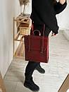 Рюкзак-трансформер из натуральной кожи на магните бордовый, фото 5