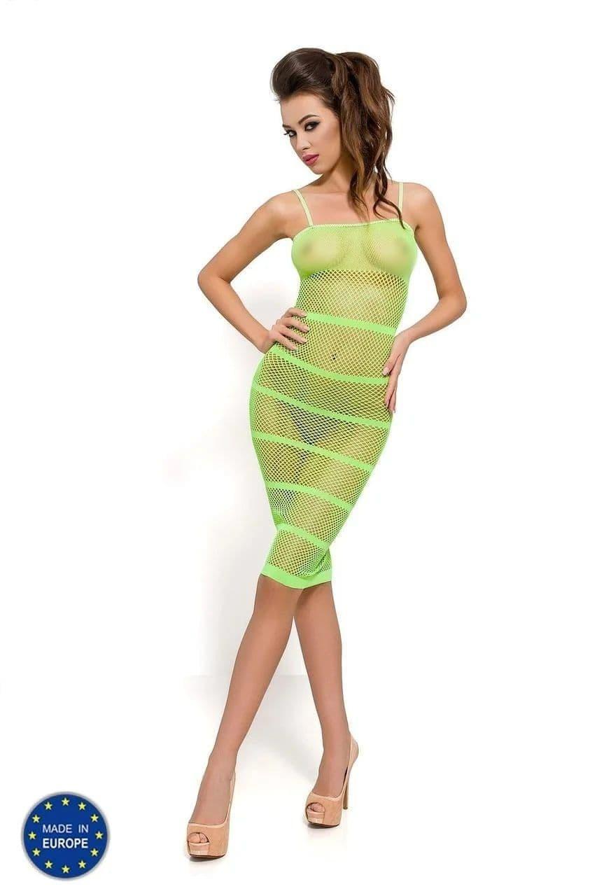Бодистокинг Passion BS033 green, плаття-сітка на бретелях, прозоре PBS033G код